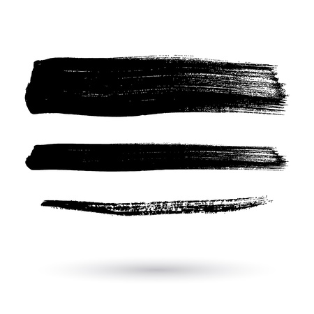 Brush strokes set hand drawn scribble abstract vector illustration. Border design template. Stock Illustratie