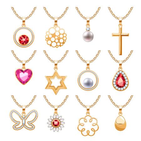 gemstone jewelry: Elegant rubies gemstones vector jewelry pendants for necklace or bracelet set.