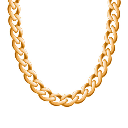 personal accessory: Chunky chain golden metallic necklace or bracelet. Personal fashion accessory design. Vector brush included.