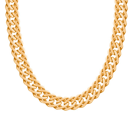 chunky: Chunky chain golden metallic necklace or bracelet. Personal fashion accessory design. Vector brush included.