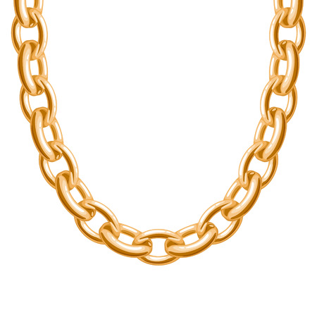 chain link: Chunky chain golden metallic necklace or bracelet. Personal fashion accessory design. Vector brush included.