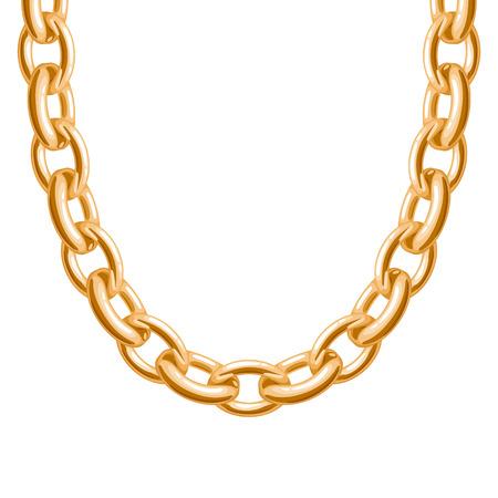 Chunky keten gouden metalen ketting of armband. Persoonlijke mode-accessoire ontwerp. Vector borstel inbegrepen. Vector Illustratie