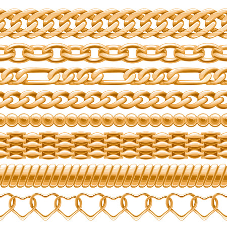 chain links: Assorted golden chains on white seamless background. Vector brushes for your design.