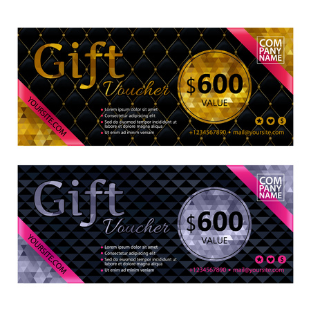 premium: Gift voucher template set with premium luxury golden, silver and black mosaic background and pink ribbons. Envelope size. Vector illustration.