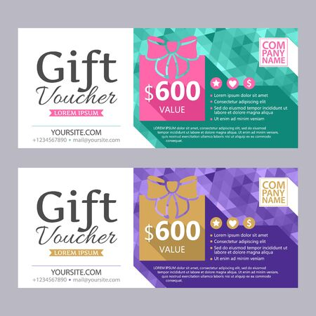 box size: Gift voucher colorful template set with bright faceted mosaic background and gift box. Envelope size. Vector illustration.
