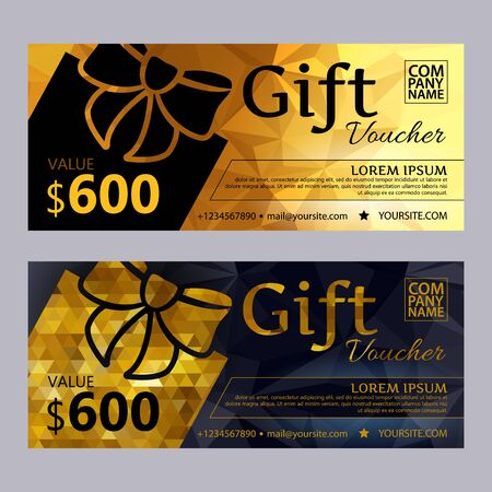 premium: Gift voucher template set with premium luxury golden and black mosaic background and gift box. Envelope size. Vector illustration. Illustration