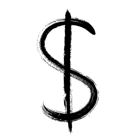 segno: Simbolo valuta disegnata a mano illustrazione vettoriale. USD simbolo del dollaro.