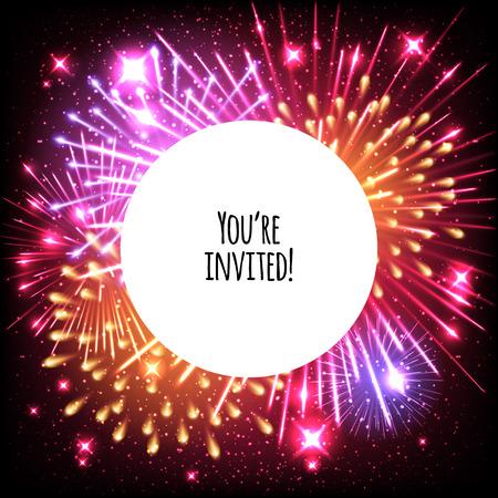 El diseño universal plantilla de tarjeta de invitación con fuegos artificiales y de fondo el marco redondo - boda, cumpleaños, fiesta, celebración, carnaval. Foto de archivo - 51013586