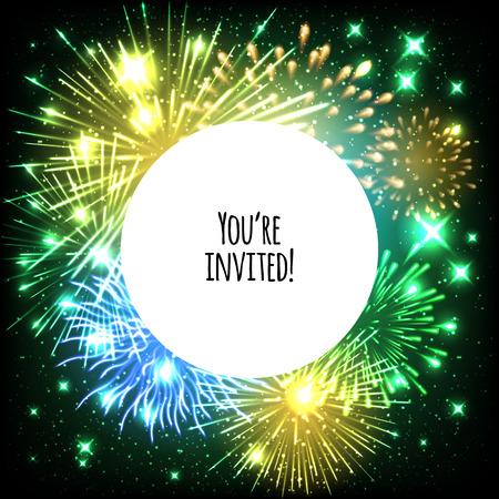 El diseño universal plantilla de tarjeta de invitación con fuegos artificiales y de fondo el marco redondo - boda, cumpleaños, fiesta, celebración, carnaval. Ilustración de vector