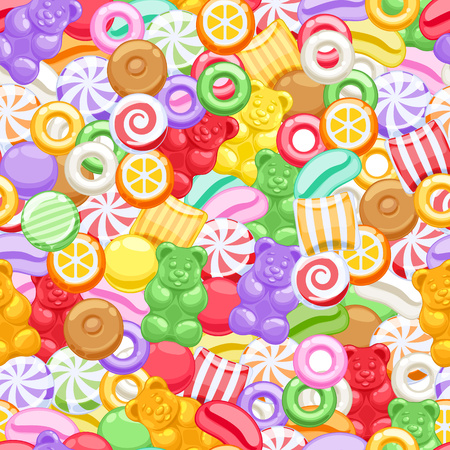 Seamless colorful assorted sweets vector background. Marshmallow gummy bears hard candies dragee jelly beans peppermint candy pattern. Vettoriali