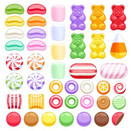 frijoles: Conjunto de diversos dulces sobre fondo blanco - gomoso malvavisco lleva caramelos duros grageas dulces jelly beans menta. Ilustración del vector. Vectores