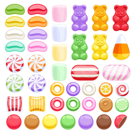sweet food: Set of different sweets on white background - marshmallow gummy bears hard candies dragee jelly beans peppermint candy. Vector illustration.