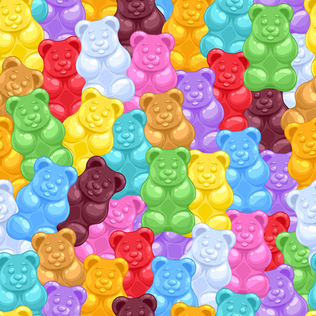 Seamless colorful gummy bears candies background. Sweets vector pattern. Vettoriali