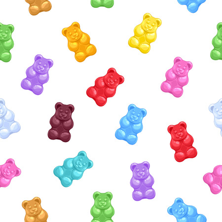 Seamless colorful gummy bears candies background. Sweets vector pattern. Ilustração