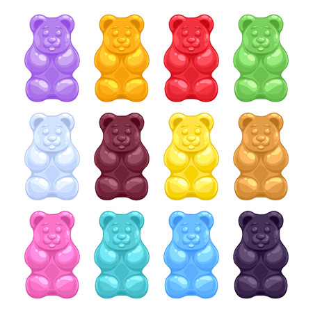 candies: Set of colorful beautiful realistic jelly gummy bears. Sweet candy food. Strawberry vanilla caramel cola menthol lemon orange flavors. Vector illustration.