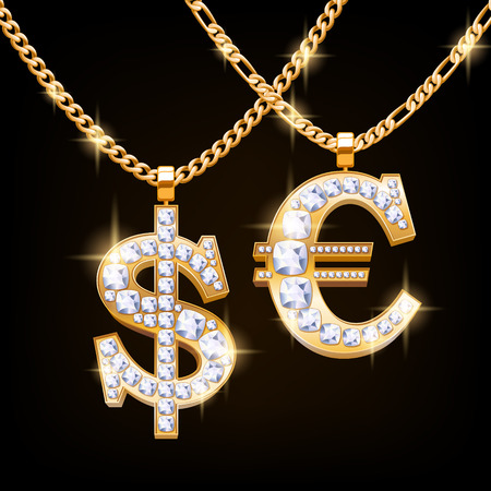 Dollar and euro sign jewelry necklace with diamonds gemstones on golden chain. Hip-hop style.