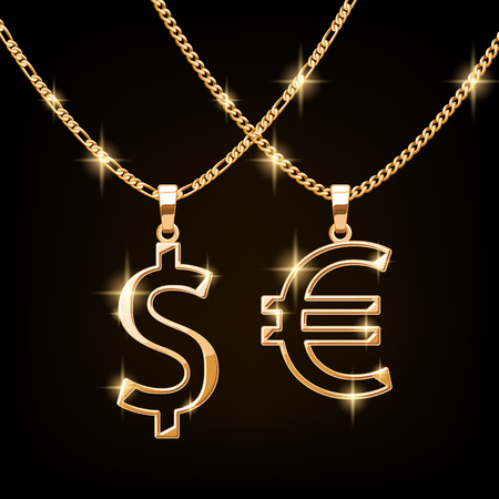 chain: Dollar and euro sign jewelry necklace on golden chain. Hip-hop style. Illustration