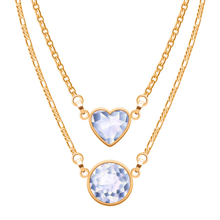 jewellery: Golden chain necklaces set with round and heart diamond pendants. Jewelry vector design.