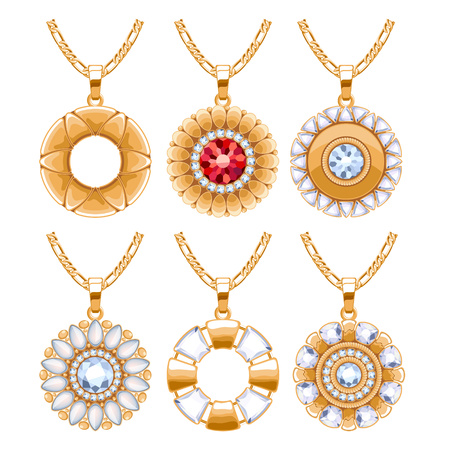 Elegant rubies and diamonds gemstones vector jewelry round pendants for necklace or bracelet set. Good for jewelry gift design.  イラスト・ベクター素材
