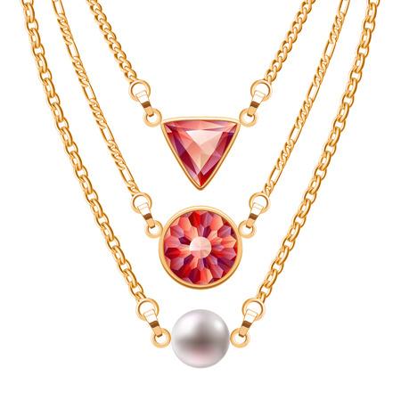 perlas: collares de cadena de oro fijadas con los colgantes redondos y rubí triángulo y de la perla. vector de diseño de joyería. Vectores