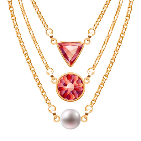Golden chain necklaces set  with round and triangle ruby pendants and pearl. Jewelry vector design. Illustration