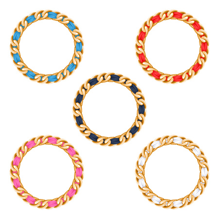 Golden chains with colorful fabric ribbon vector frames set . Good for necklace, bracelet, jewelry accessory design. Illustration