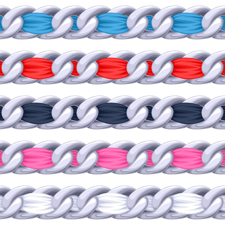 metal: Silver chains set with colorful threaded fabric ribbon vector brush. Good for necklace, bracelet, jewelry accessory design.