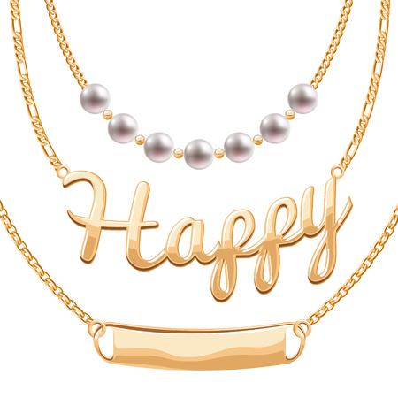 perlas: collares de cadena de oro fijadas con los colgantes de perlas - palabra feliz y simbólicos en blanco. vector de diseño de joyería. Vectores