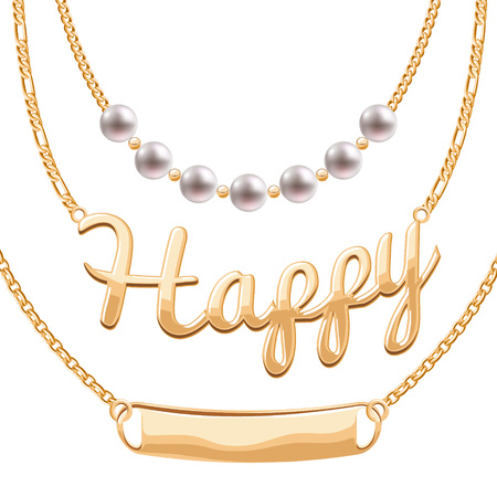 Golden chain necklaces set with pendants - pearls Happy word and blank token. Jewelry vector design.