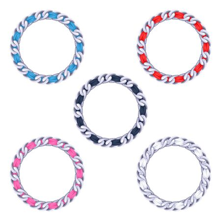 silver jewelry: Silver chains with colorful fabric ribbon vector frames set . Good for necklace, bracelet, jewelry accessory design.