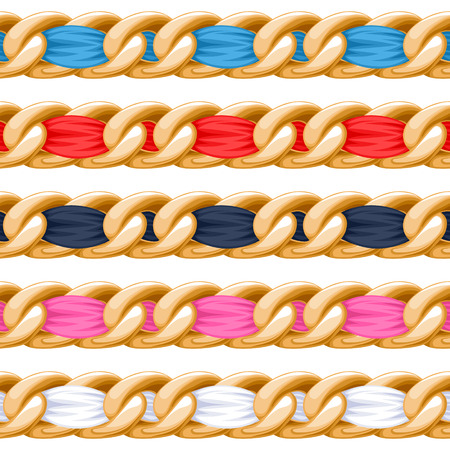 chain links: Golden chains set with colorful threaded fabric ribbon vector brush. Good for necklace, bracelet, jewelry accessory design.