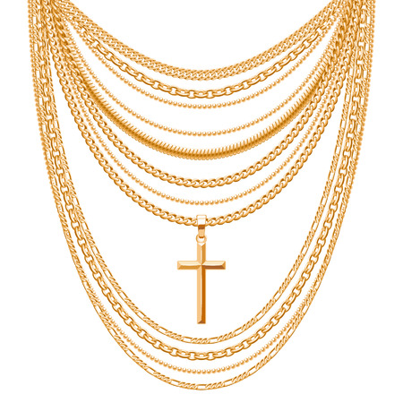 personal accessory: Many chains golden metallic necklace with cross. Personal fashion accessory design.