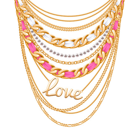 chain links: Many chains golden metallic and pearls necklace. Ribbons wrapped. Love word pendant. Personal fashion accessory design.
