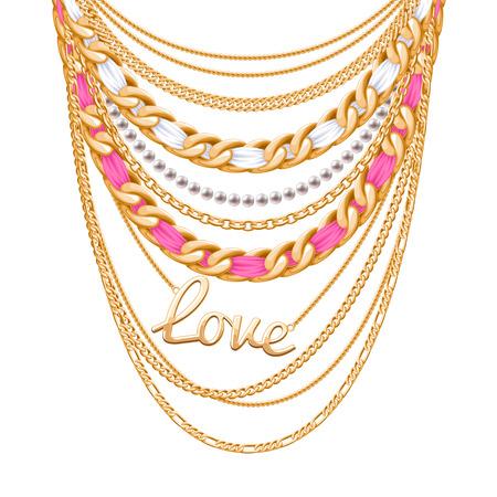 perlas: Muchas cadenas metálicas de oro y collar de perlas. Cintas envueltos. Amor colgante de la palabra. diseño de accesorio de moda personal.
