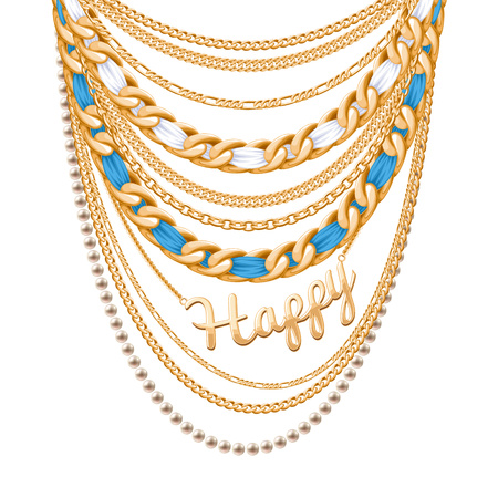 personal accessory: Many chains golden metallic and pearls necklace. Ribbons wrapped. Happy word pendant. Personal fashion accessory design.