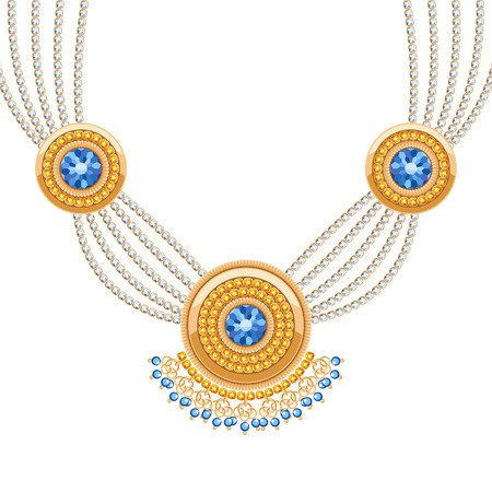 indian art: Golden round pendants necklace with jewelry blue gemstones on diamond chains. Precious necklace. Ethnic indian style brooche.