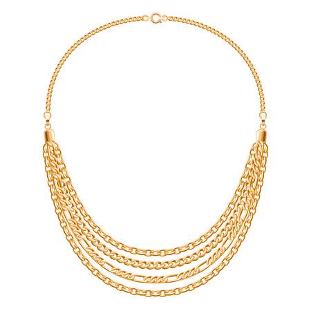 Muchas cadenas de collar de oro metálico. moda personal de diseño vectorial accesorio.