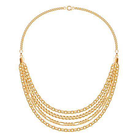 personal accessory: Many chains golden metallic necklace. Personal fashion accessory vector design.