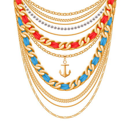 personal accessory: Many chains golden metallic and pearls necklace. Ribbons wrapped. Anchor pendant. Personal fashion accessory design.