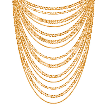 Many chains golden metallic necklace. Personal fashion accessory design. Vectores