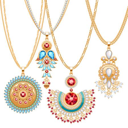 Reeks gouden kettingen met verschillende hangers. Precious kettingen. Etnische Indische stijl broches hangers met edelstenen parels. Omvatten ketens borstels.
