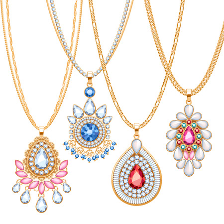 diamond necklace: Set of golden chains with different pendants. Precious necklaces. Ethnic indian style brooches pendants with gemstones pearls. Include chains brushes.