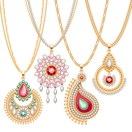 Set of golden chains with different pendants. Precious necklaces. Ethnic indian style brooches pendants with gemstones pearls. Include chains brushes.