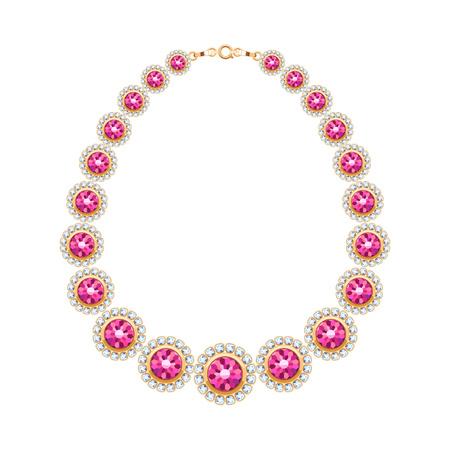 Edelstenen keten gouden metalen ketting of armband met robijnen en diamanten. Persoonlijke mode-accessoire ontwerp. Vector illustratie.