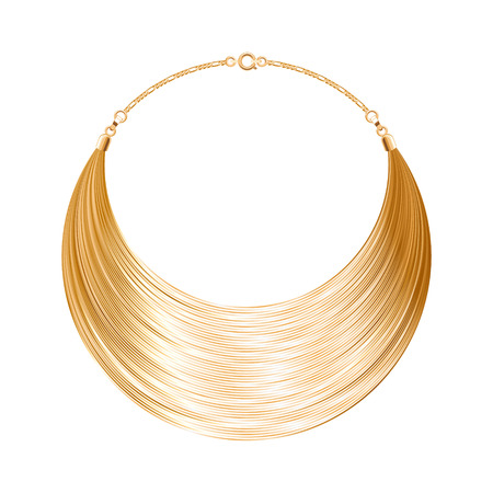 gold necklace: Rounded simple golden metallic necklace or bracelet. Personal fashion accessory design. Vector illustration.