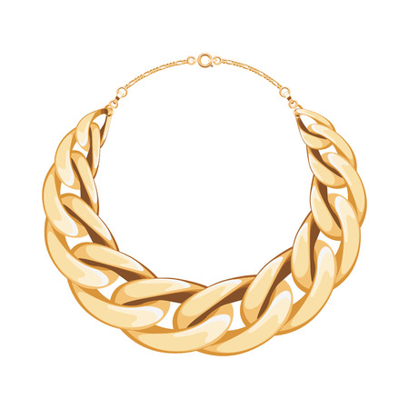 Chunky chain golden metallic necklace or bracelet. Personal fashion accessory design. Vector illustration.