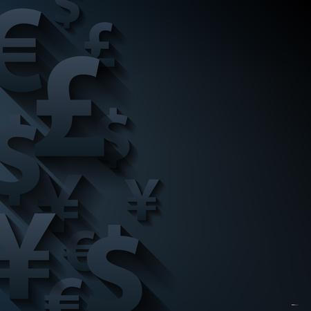 cuenta bancaria: Símbolos de las monedas de papel resumen de antecedentes negro. Yen dólar euro figura la financiación empresarial libra del vector.