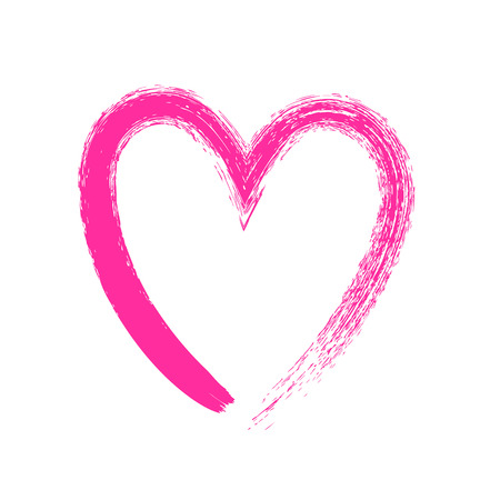 heart symbol: Heart symbol hand drawn with pink paint by brush vector illustration. Valentines day decorative element for greeting postcard design.