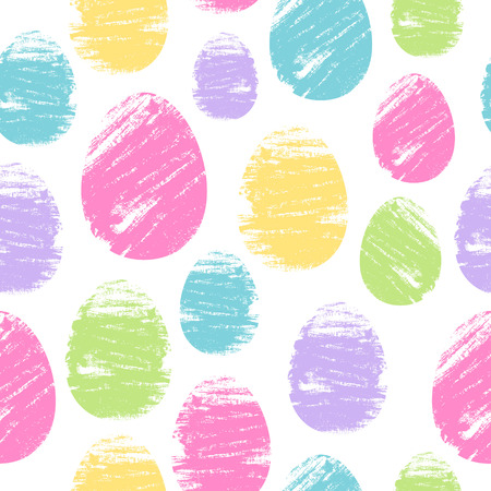 easter background: Colorful easter eggs seamless background. Brush strokes design vector illustration pattern. Holiday greeting card poster brochure cover texture. Illustration