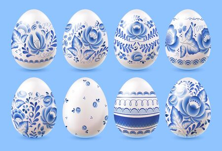 Easter eggs set with blue floral russian porcelain pattern design vector illustration.